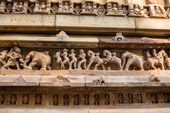 Close up military stone carving in Lakshman Temple Royalty Free Stock Photos