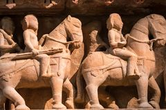 Close up military stone carving in Lakshman Temple Stock Photography