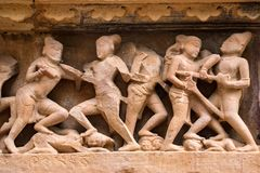 Close up military stone carving in Lakshman Temple Stock Image