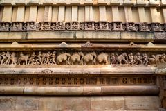 Close up military stone carving in Lakshman Temple Royalty Free Stock Images