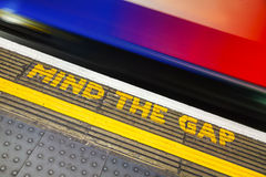 Famous Mind the Gap sign Royalty Free Stock Photography