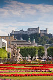 Famous Mirabell Garden view in Salzburg, Austria Royalty Free Stock Images