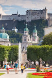Famous Mirabell Garden view in Salzburg, Austria Royalty Free Stock Photography