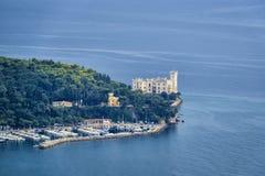 Famous Miramare castle on the Adriatic Sea coast Royalty Free Stock Photos