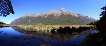 Famous Mirror Lakes, New Zealand. Reflections in Mirror Lakes, New Zealand stock images