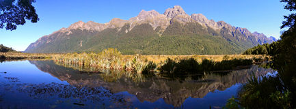 Famous Mirror Lakes, New Zealand. Reflections in Mirror Lakes, New Zealand stock photos