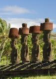Famous moais of Anakena beach Stock Photography