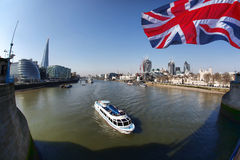Famous Modern London cityscape with boats, LONDON, UK Royalty Free Stock Image