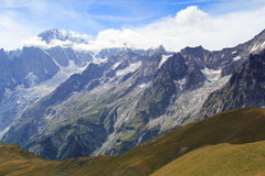 Famous Mont Blanc panorama. Famous Mont Blanc as from Mont Sapin top . Ferret Valley , Italy Stock Images