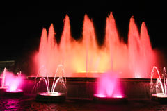 The famous Montjuic Fountain, Barcelona Royalty Free Stock Photos