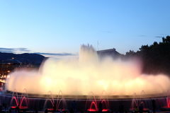 The famous Montjuic Fountain in Barcelona, Spain Stock Images
