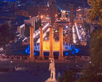 The famous Montjuic Fountain in Barcelona.Spain. Stock Photos