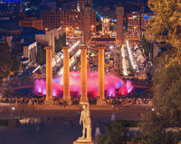 The famous Montjuic Fountain in Barcelona.Spain. Royalty Free Stock Photos