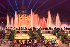 The famous Montjuic Fountain in Barcelona.Spain. Stock Image