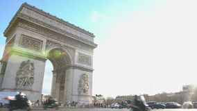 Famous monument in center of Paris, intensive traffic near Arc de Triomphe. Stock footage stock video footage