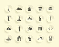 Famous Monument icons Set Royalty Free Stock Photography