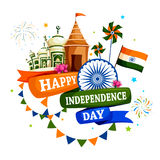 Famous monument of India in Indian background for Happy Independence Day. Vector illustration of Famous monument of India in Indian background for 15th August Stock Photo
