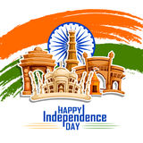 Famous monument of India in Indian background for Happy Independence Day. Vector illustration of Famous monument of India in Indian background for 15th August Royalty Free Stock Photo