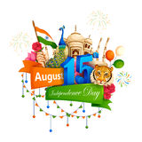 Famous monument of India in Indian background for Happy Independence Day. Vector illustration of Famous monument of India in Indian background for 15th August Royalty Free Stock Images