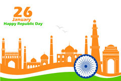 Famous monument in Indian background for Happy Republic Day Stock Image