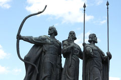 Famous monument to the mythical founders of Kiev Stock Photos