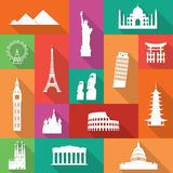 Famous Monuments Icons Stock Photos