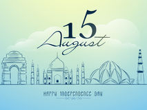 Famous monuments for Indian Independence Day. Creative illustration of famous Indian monuments on shiny cloudy background for 15 August, Independence Day Stock Image