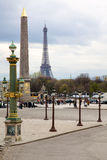 Famous monuments in Paris. The Eiffel Tower as well as the obeli Royalty Free Stock Image