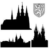 Famous monuments of Prague. Prague castle, church of Saint Nikolas, church of Our Lady front Tyn and coat of arms. Prague, Czech republic Stock Image