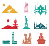 Famous monuments travel icons. Stock Photos