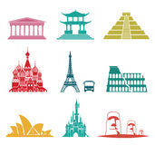 Famous monuments travel icons. Vector set of famous monuments and travel icons. Travel and tourism icon set Stock Photo
