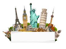 Famous monuments of the world with blank rolled paper Royalty Free Stock Photography