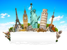 Famous monuments of the world with blank torn paper Royalty Free Stock Image