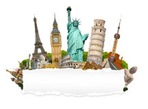 Famous monuments of the world with blank torn paper Stock Image