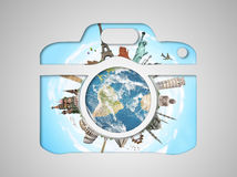 Famous monuments of the world in a camera icon Stock Photo