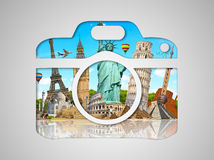 Famous monuments of the world in a camera icon Stock Photography