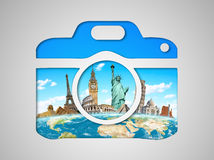 Famous monuments of the world in a camera icon Stock Image