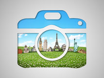 Famous monuments of the world in a camera icon Royalty Free Stock Photos