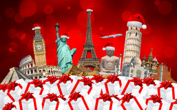 Famous monuments of the world celebrating christmas Royalty Free Stock Photography