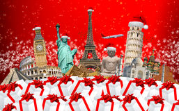 Famous monuments of the world celebrating christmas Stock Photography