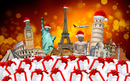 Famous monuments of the world celebrating christmas. Famous monuments of the world grouped together celebrating christmas stock illustration
