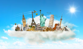 Famous monuments of the world in a cloud Royalty Free Stock Photos