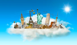 Famous monuments of the world in a cloud Stock Photo