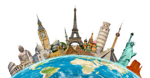 Famous monuments of the world. Grouped together on planet Earth Stock Images
