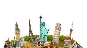 Famous monuments of the world. Grouped together on white background Stock Photo