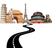 Famous monuments of the world and road Royalty Free Stock Image