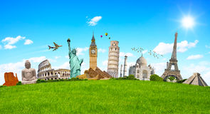 Famous monuments of the world surrounding green grass Stock Image