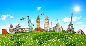 Famous monuments of the world surrounding green grass Royalty Free Stock Image