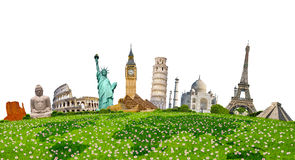 Famous monuments of the world surrounding green grass on white b Royalty Free Stock Image