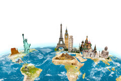 Famous monuments of the world surrounding planet Earth on white Stock Photos